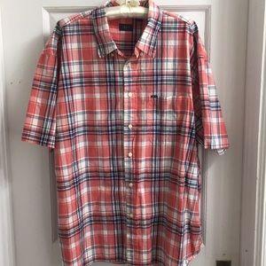 Izod men's XXL plaid short sleeve shirt blue peach